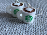 White and green coffee cup earrings