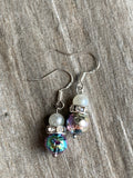 Charm earrings silver metal alloy colored metallic lava stone and white pearls
