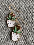 Green and pink cactus charm earrings with gold metal alloy