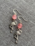 Silver flamingo charm earrings and pink glass beads