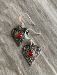 Heart charm earrings silver metal alloy and red stone