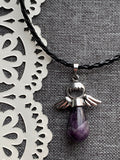 Purple amethyst stone angel charm necklace on black leather cord silver metal alloy