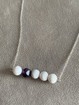 White lava stone necklace and purple amethyst stone jewelry diffuser aromatherapy metal alloy silver