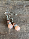 Coral glass beads and gold pink beads earrings