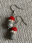 Gray lava stone ball earrings and red resin ball silver metal alloy