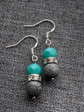 Turquoise resin beads earrings and gray lava stone beads and turquoise resin beads diffuser jewelry