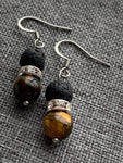 Lava Stone Bead Earrings Aromatherapy Diffuser Jewelry and Tiger Eye Beads
