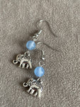 Silver elephant charm earrings and blue glass beads silver metal alloy