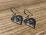 I love you silver heart charm earrings