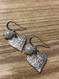 Silver heart charm earrings and purple glass ball