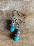 Lava stone bead earrings aromatherapy diffuser jewelry and turquoise resin beads