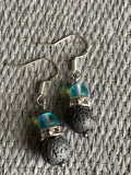 Gray lava stone ball earrings chic aromatherapy diffuser jewelry and turquoise blue resin ball
