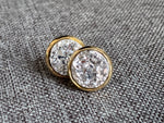 Gold cabochon earrings druzy style gray stone