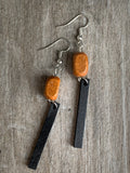 Brown wood and black wood alloy silver metal alloy charm earrings