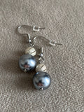 Chic blue pearl and chic gray ball earrings
