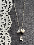 Eiffel Tower Paris white flower charm necklace on silver metal alloy chain