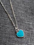 Turquoise silver heart charm necklace and silver metal alloy