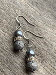 Blue Bead Earrings and Gray Lava Stone Beads Lava Stone Aromatherapy Diffuser Jewelry
