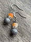 Peach Orange Resin Bead Earrings and Lava Stone Beads Aromatherapy Diffuser Jewelry