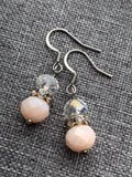 Transparent resin beads and pink silver metal alloy earrings