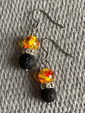 Yellow and Red Glass Bead Earrings Silver Metal Alloy and Lava Stone Beads Aromatherapy Diffuser Jewelry