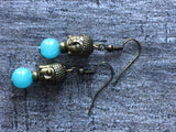 Agate turquoise blue buddha earrings - Petit Luxe Shop