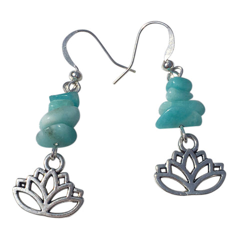 Aqua earrings and silver | Boucles d'oreilles argent et aqua