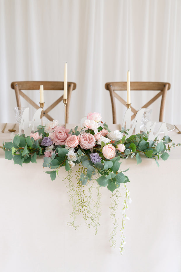 Flower Swag and Tablecloth for Sweetheart/Head Table - Dusty Rose & Cream