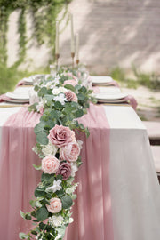 Baby Eucalyptus Flower Garland 6.5FT - Garden Dusty Rose