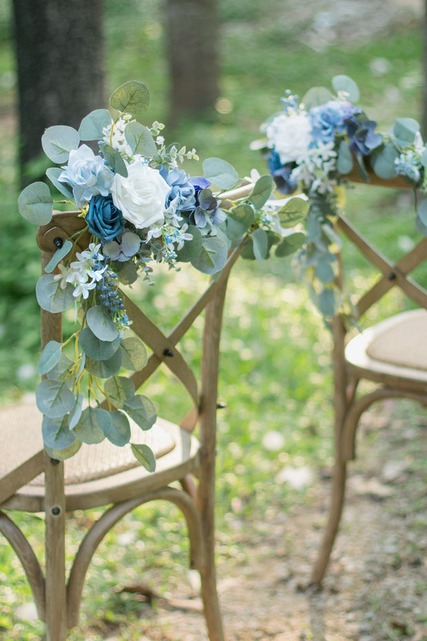 Eucalyptus Floral Chair Decoration (Set of 2) - Dusty Blue
