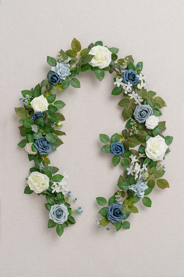 Rose Flower Garland 5FT - Dusty Blue