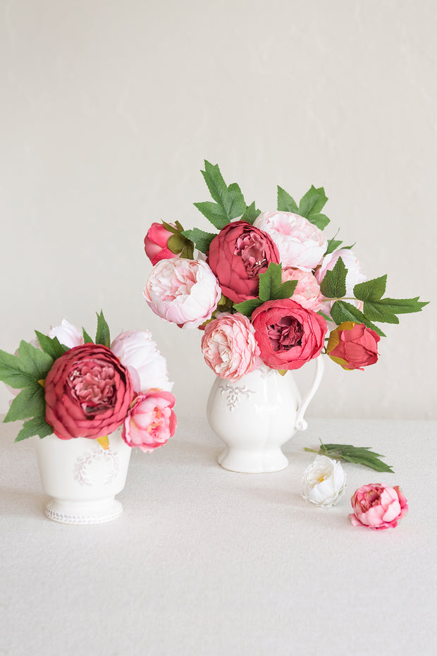 "3"" Silk Peony with Stem - 3 Styles"