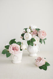 "3.5"" Silk Austin Rose & 3"" Cabbage Rose with Stem - 6 Styles"