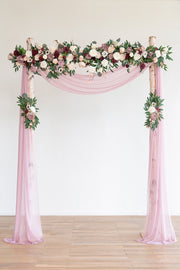 Flower Arch Décor with Sheer Drape (Set of 3) - Delicate Dusty Rose