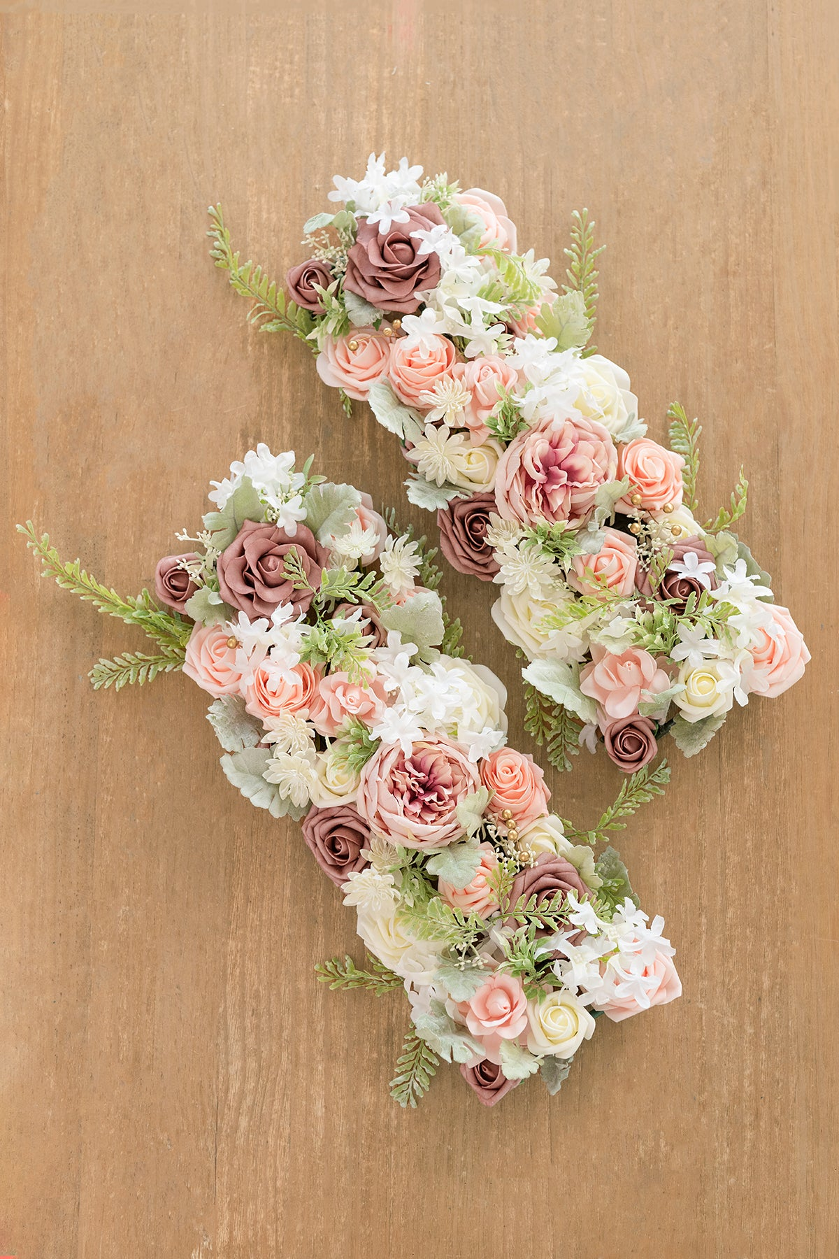 Large Rectangle Flower Arrangements (Set of 2) - Dusty Rose