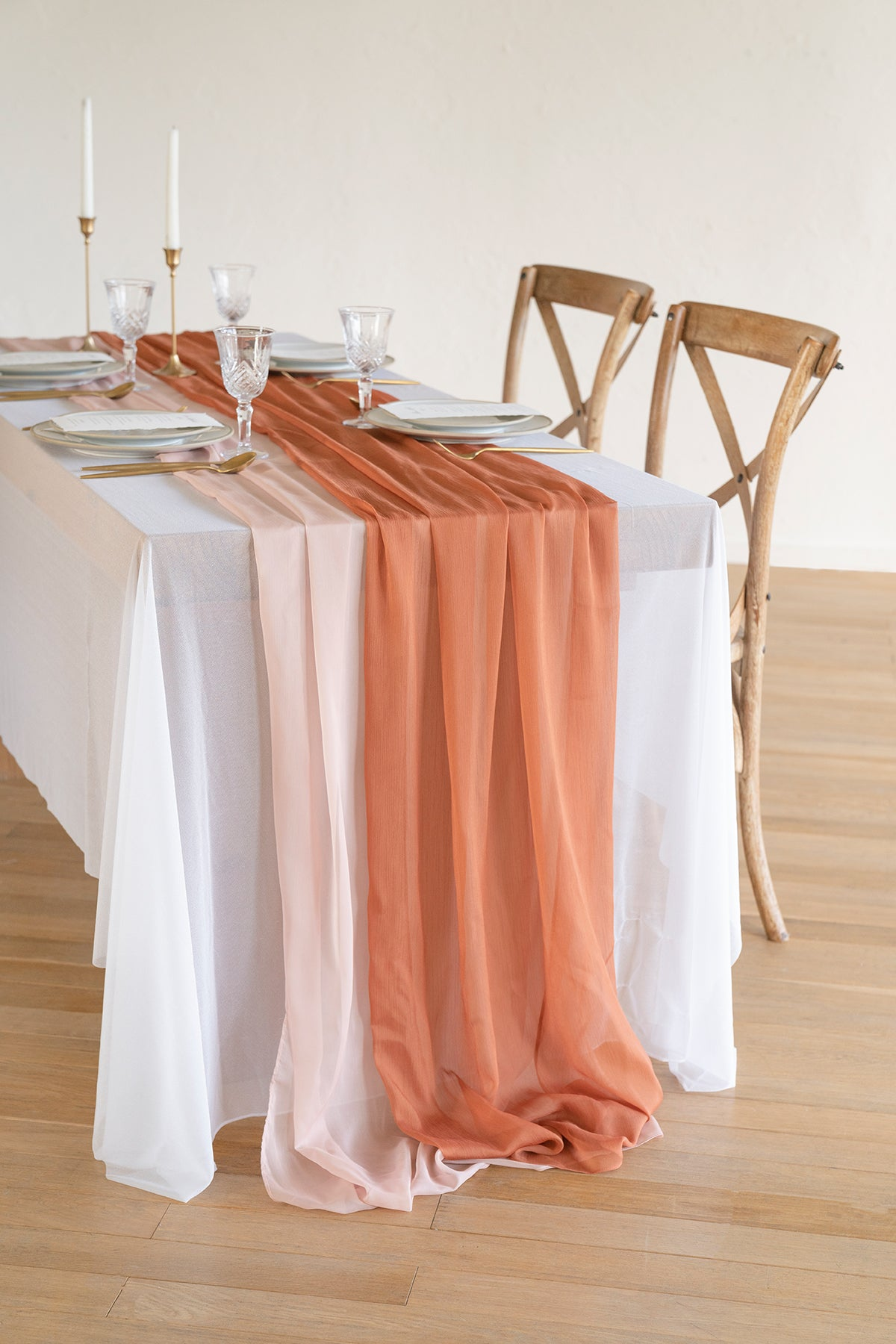"Silky Chiffon Table Runner 30""w x 10FT (Set of 2) - Burnt Orange"