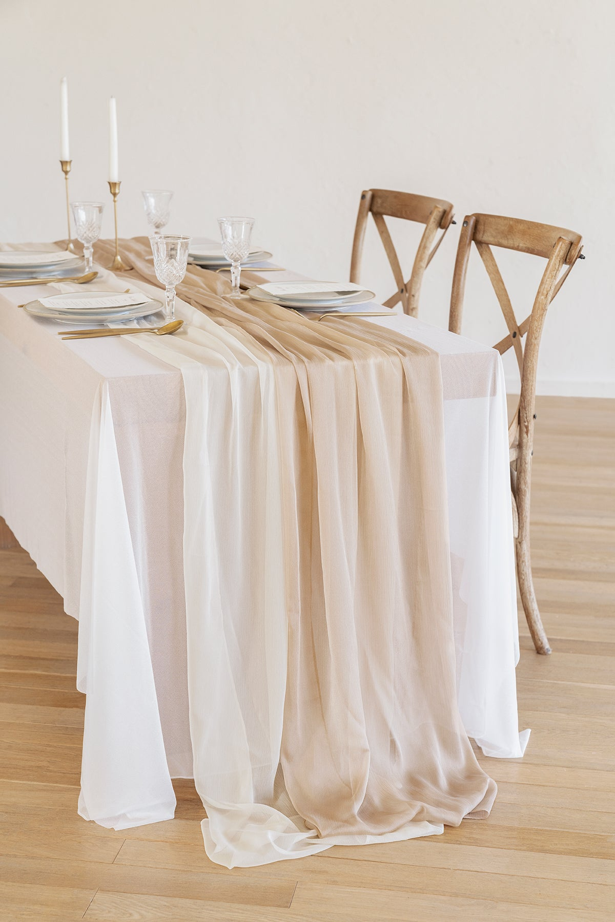 "Silky Chiffon Table Runner 30""w x 10FT (Set of 2) - Nude & Cream"