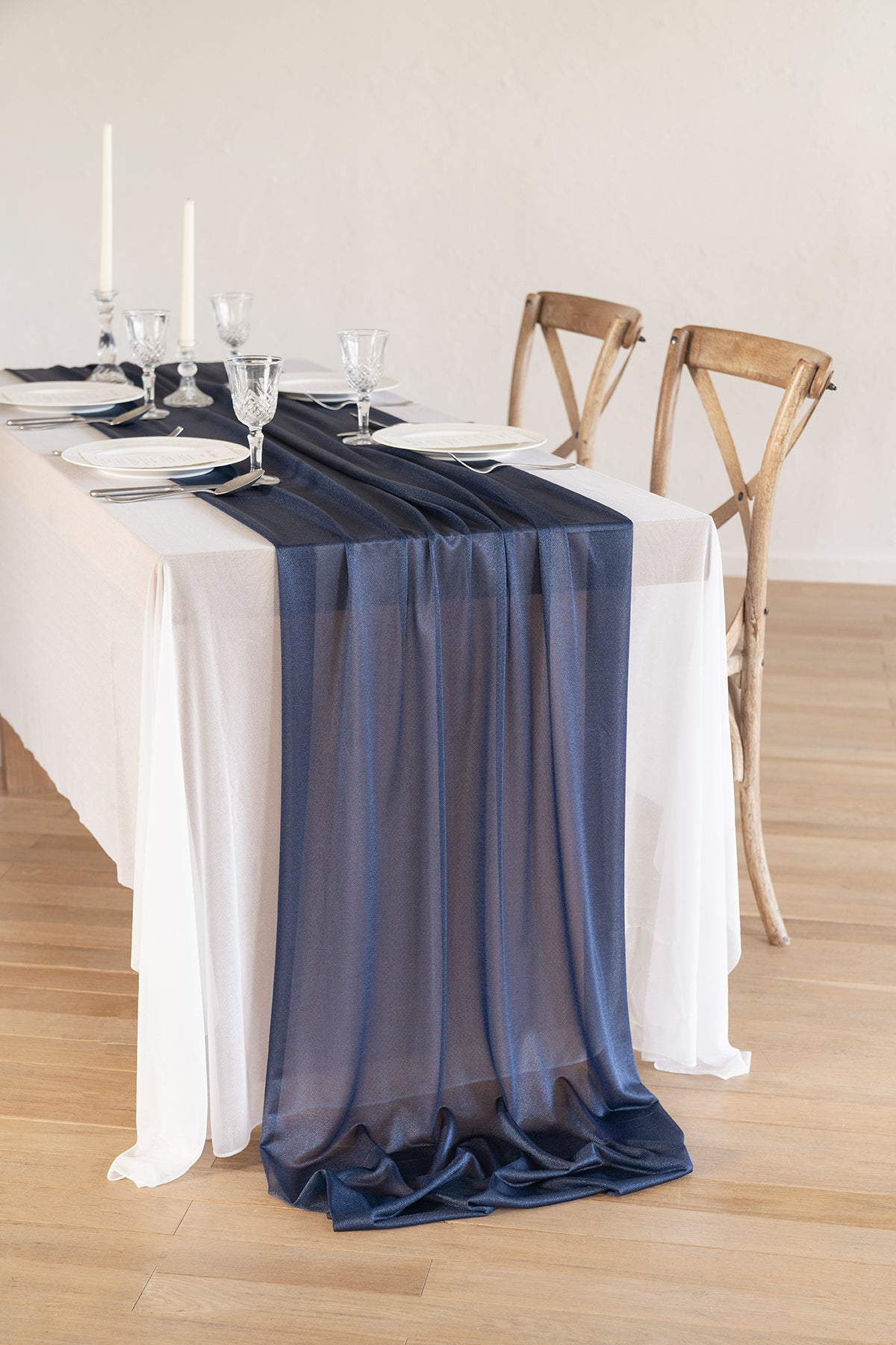 "Romantic Sheer Table Runner 29""w x 10FT/14FT - Blues/Grey"