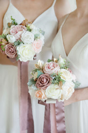 "7"" Bridesmaid Bouquets (Set of 4) - Dusty Rose"