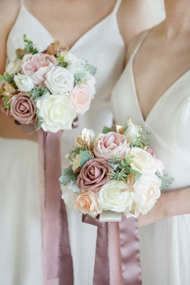 "7""/9"" Bridesmaid Bouquet - Dusty Rose & Cream"