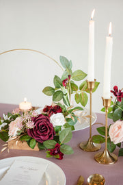 Floral Centerpieces with Candle Holder (Set of 3) - Marsala & Dusty Rose