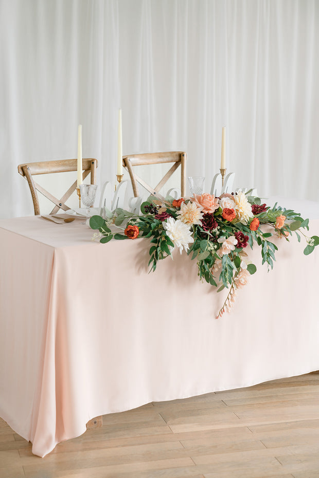 Flower Swag and Tablecloth for Sweetheart/Head Table - Terracotta