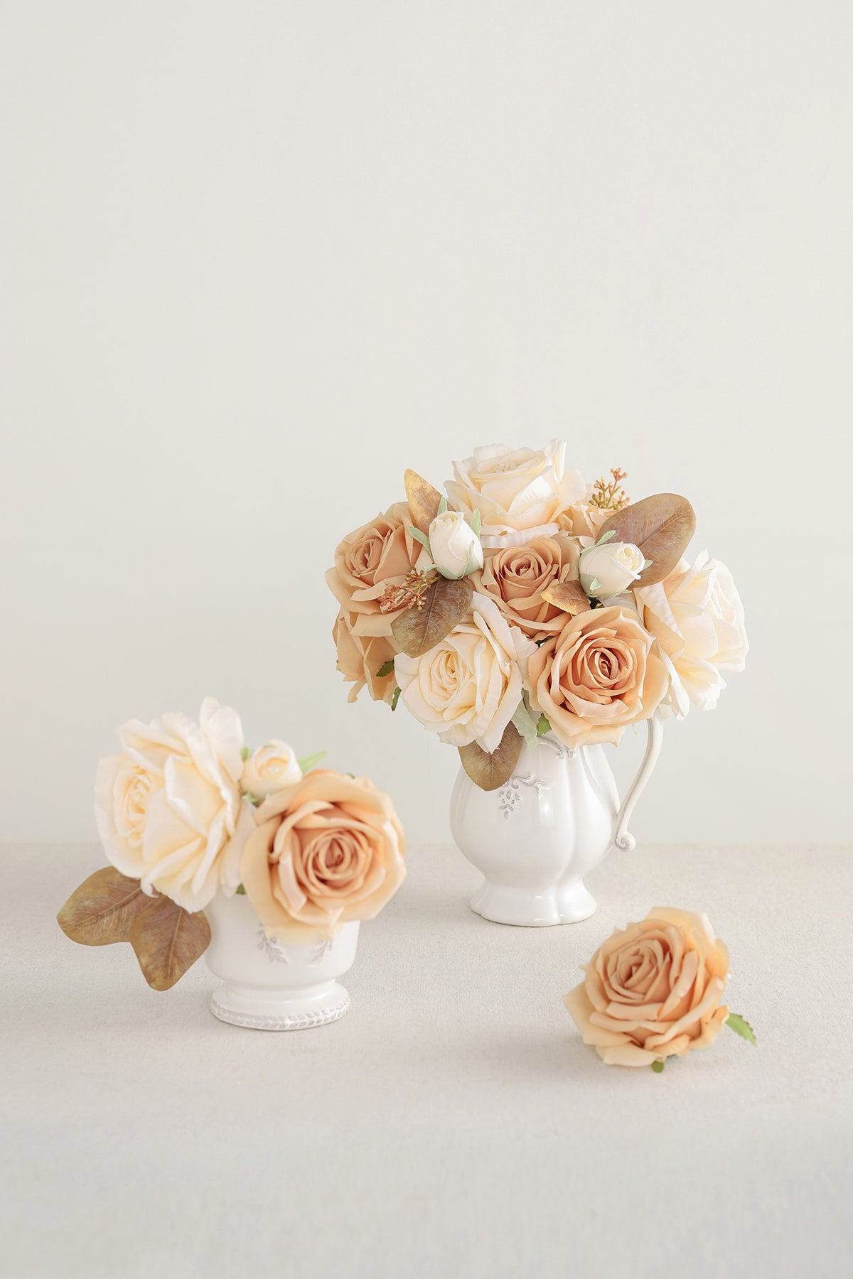 Silk Escimo Rose & Vendela Rose with Stem - Cream
