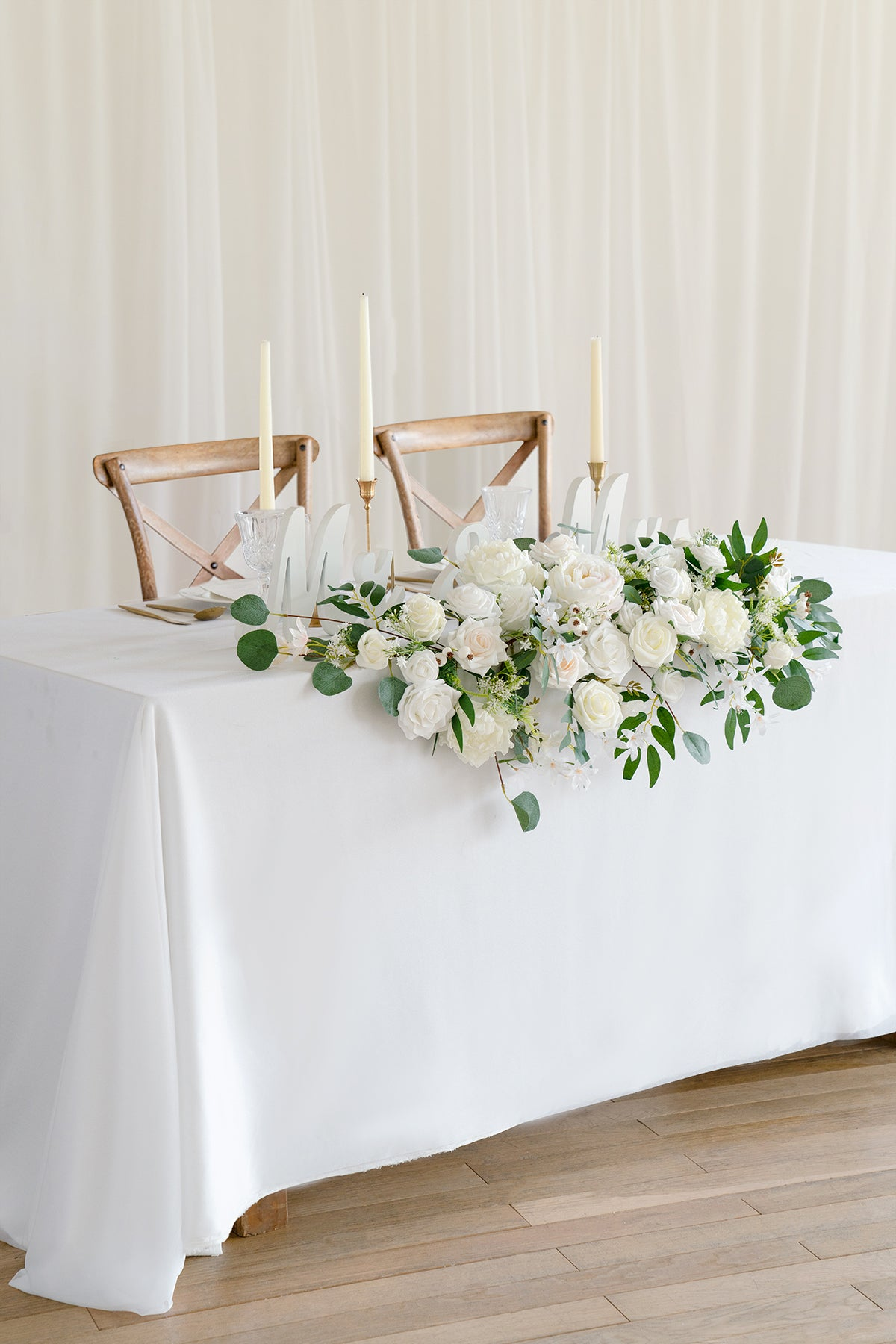 Flower Swag and Tablecloth for Sweetheart/Head Table - Natural Whites