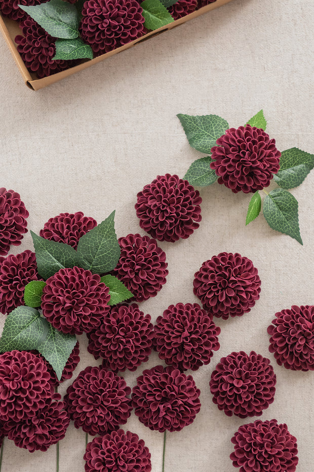 "2.5"" Foam Dahlia with Stem - 4 Colors"