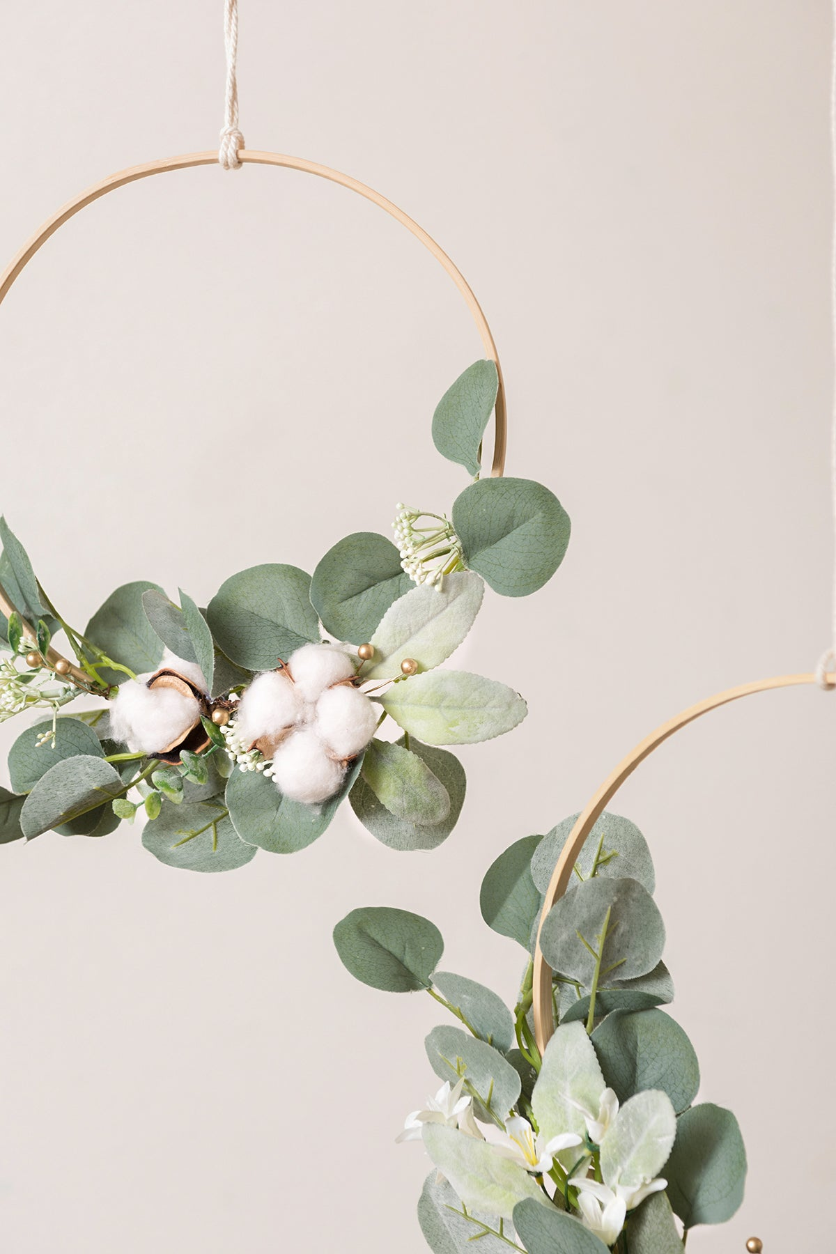 Cotton Eucalyptus Wreath (Set of 3) - White & Green