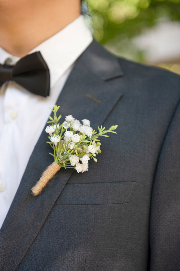 Wedding Boutonnieres (Set of 10) - Baby's Breath