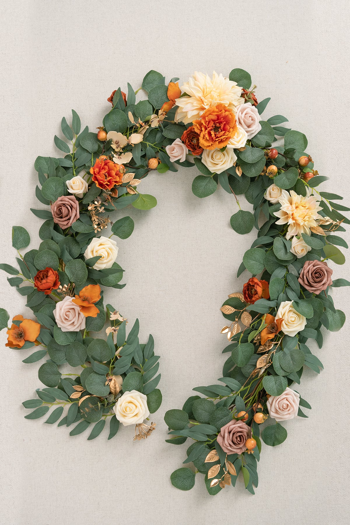 Eucalyptus and Willow Leaf  Flower Garland 6.5FT - Mellow Terracotta