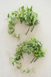 Silk Clematis Leaves Hanging Bush (Set of 4)