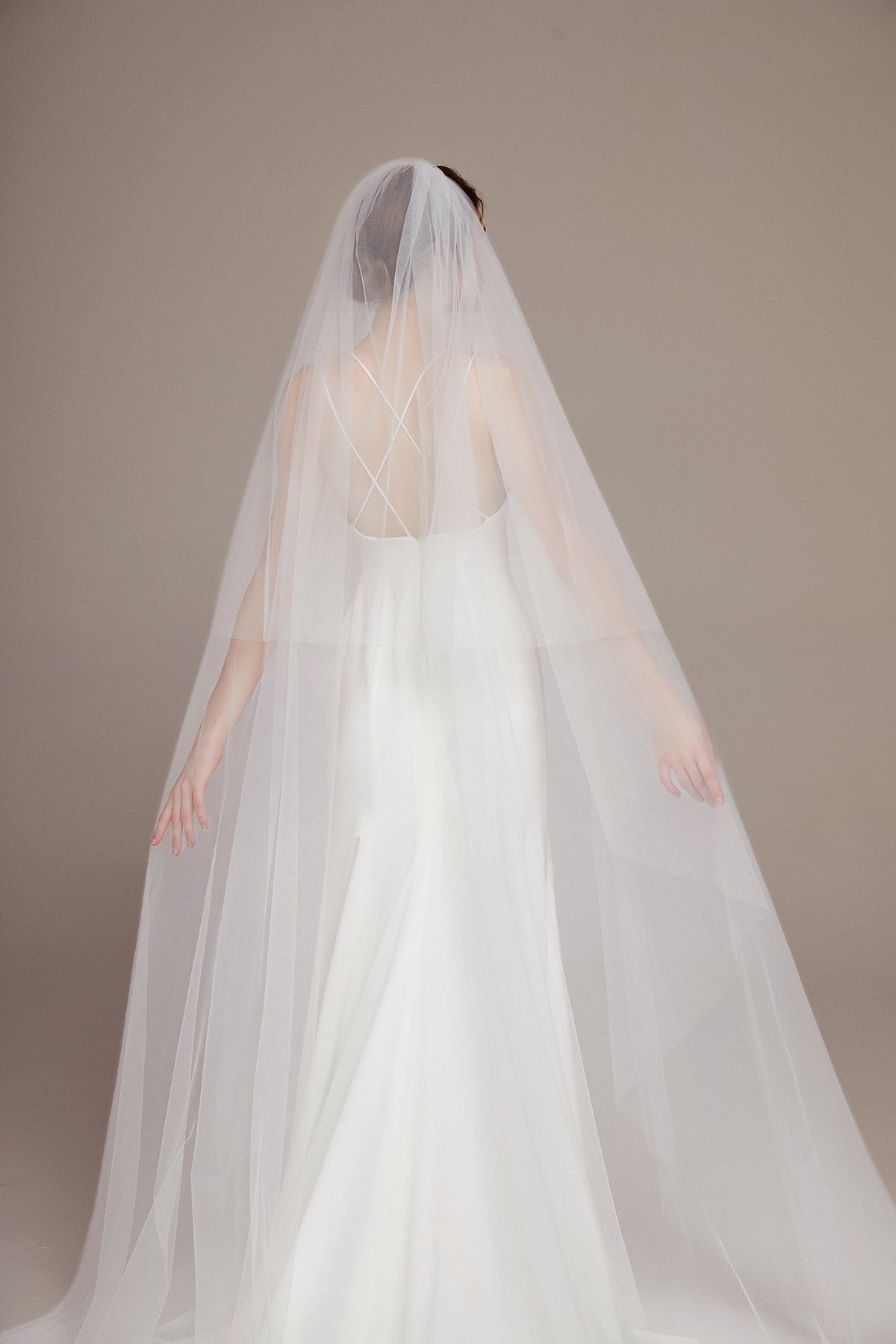 Simple Elegant Two Tier Cathedral Veil with Comb